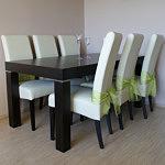 pamir stół z krzesłami dąb białe krzesła skórzane