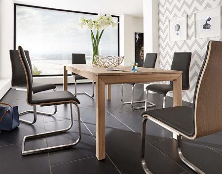 paola krzesła z metalową płozą przy stole skórzane brązowe