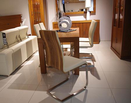 Paola krzesło metalowe płozy oparcie orzech amerykański