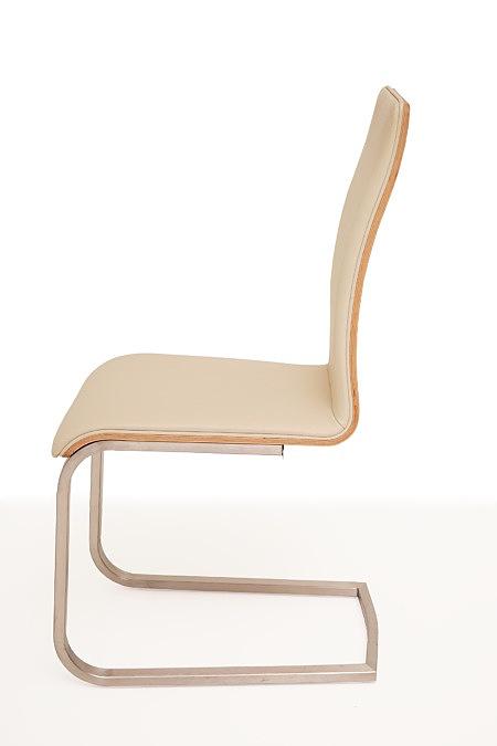 Paola krzesło na płozach do jadalni jasna skóra