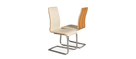 Paola skórzane krzesło na płozach metalowych oparcie orzech amerykański