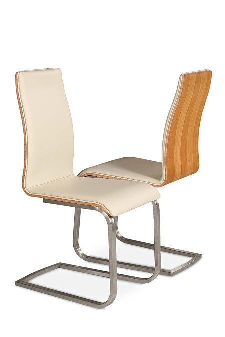 Paola skórzane nowoczesne krzesło metalowe na płozach orzech amerykański