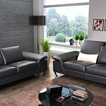 Party - czarny komplet wypoczynkowy 2+2, w zestawie są dwie czarne nowoczesne sofy skórzane do salonu, pikowane siedziska, przesuwane oparcia, nóżki metalowe chromowane
