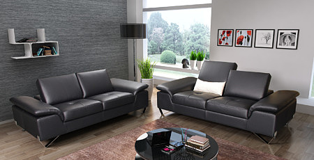 Party - czarne nowoczesne sofy do salonu, pikowane siedziska, przesuwane oparcia, nóżki metalowe chromowane