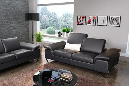 Party - nowoczesny wypoczynek, aranżacja wizualizacja wnętrza salonu, czarna nowoczesna sofa z pikowanymi siedziskami i przesuwanymi oparciami, nogi metalowe chromowane płozy z blachy