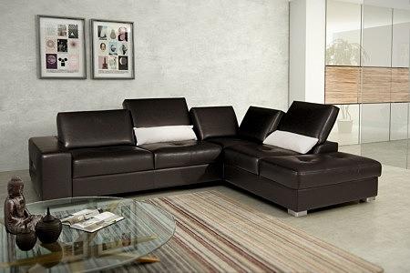 Passione aranżacja wizualizacja salonu z brązowym wypoczynkiem z pikowanymi siedziskami