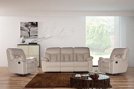 Premium - elegancki skórzany komplet wypoczynkowy 3+1+1, sofa i fotele skórzane z funkcją relax