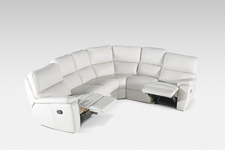 relax biały skórzany narożnik z funkcją relax