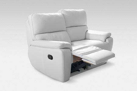 relax fotel dwuosobowy skórzany biały funkcja relax