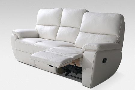 relax sofa biała skórzana funkcja relax