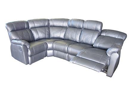 relax szara skórzana sofa z funkcją relax