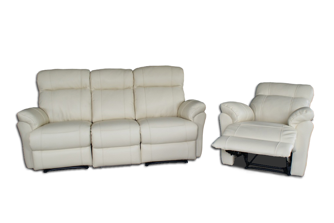 Elegancki komplet wypoczynkowy sofa i fotel z funkcją relax biała skóra naturalna