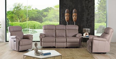 TC Meble Wrocław - skórzany komplet wypoczynkowy z funkcją relax, ciemno beżowy, elegancki design, w skład zestawy wchodzi kanapa 3-osobowa i dwa fotele