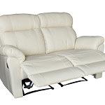 Dwuosobowa elegancka sofa skórzana z funkcją relax, biała skóra naturalna