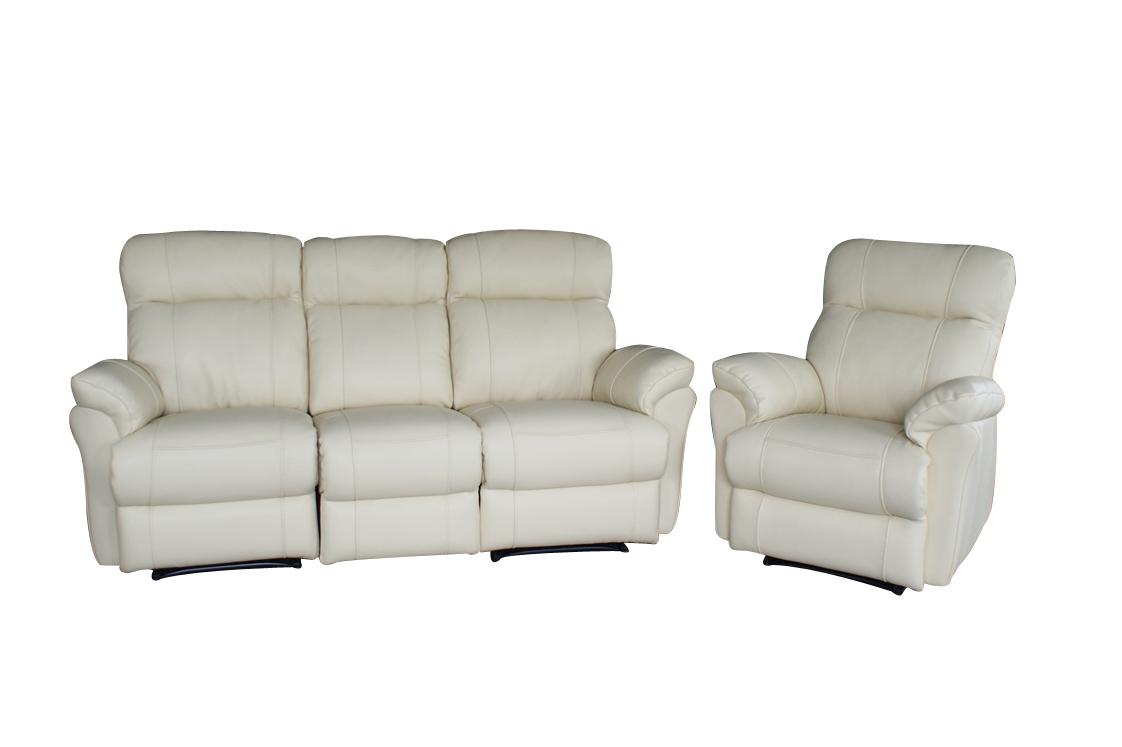 Elegancka sofa skórzana i fotel, biała skóra naturalna- komplet wypoczynkowy z funkcją relax - Salon TC Wrocław
