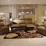 Komplet wypoczynkowy 3+1+1 - Elegancka sofa skórzana 3-osobowa z wysuwanymi podnóżkami, 2 fotele skórzane z relaxem - meble na zamówienie Wrocław TC Tomasz Cembolista
