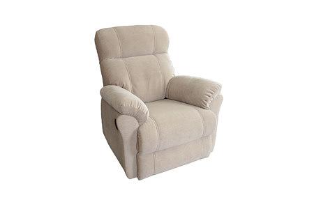 Wygodny fotel tapicerowany tkaniną, beżowy, do nowoczesnego salonu