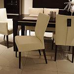 Romus krzesło drewniane skórzane kolor kremowy
