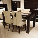Romus krzesło drewniane skórzane przy stole