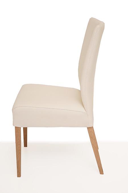 Roums krzesło do nowoczesnego salonu biała skóra noga buk