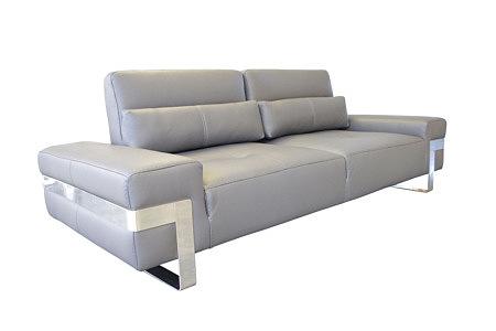 Royal sofa dwuosobowa szara skórzana