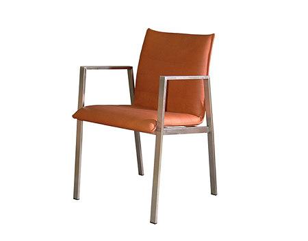 ruby krzesło metalowe nogi pomarańczowe skórzane