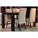 sandra krzesło drewniane dębowe skórzane obicie