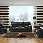 Sara1 - czarny komplet wypoczynkowy skórzany 3+2+1, Zestaw zawiera sofę 3-osobową, fotel skórzany i kanapę 2-osobową