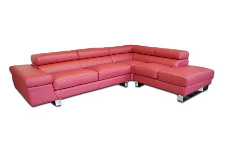 saturno czerwony sofa narożnik skórzany do salonu