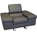 saturno fotel skórzany do salonu metalowe elementy