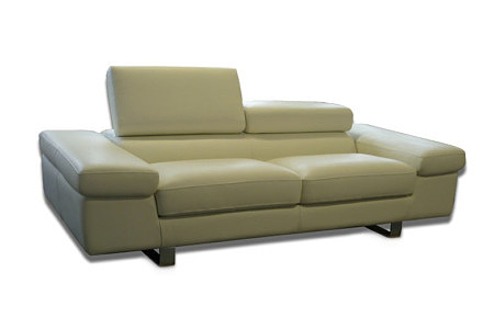 saturno sofa skórzana metalowe nogi kremowa