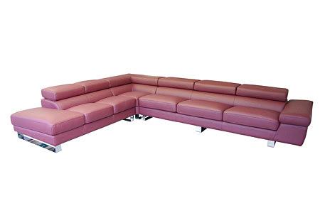 Saturno różowy wielki narożnik do salonu tapicerowany tkaniną