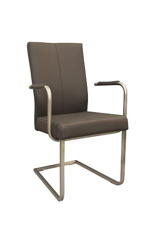 Skip 5 szare krzesło skórzane z podłokietnikami na płozie