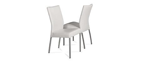 Skip1 nowoczesne białe krzesło skórzane z metalowymi nogami