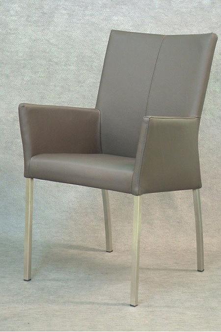 skip2 krzesło metalowe nogi podłokietnik skórzane szare