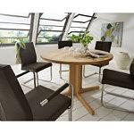skip3 krzesło metalowe płozy podłokietnik brązowa skóra