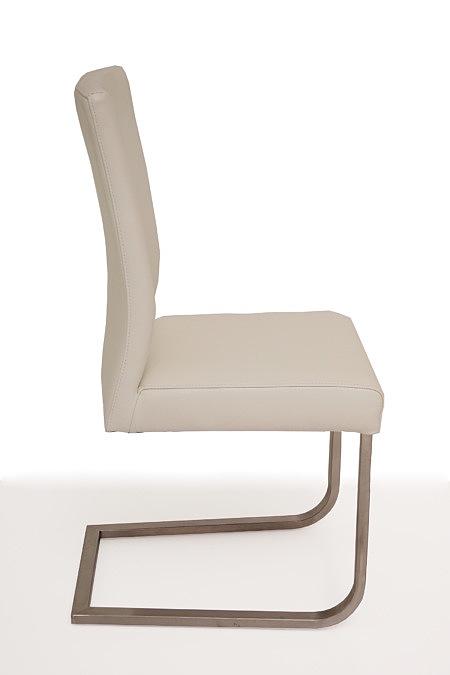 Skip3 nowoczesne białe krzesło metalowe na płozie skóra