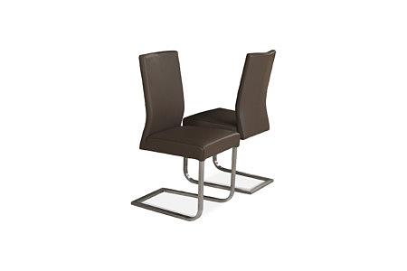 Skip3 nowoczesne krzesła z brązowej skóry na metalowych płozach