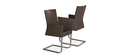 Skip4 nowoczesne krzesła na płozach z podłokietnikiem oparcie ze skóry
