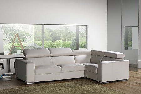 sofa biała skóra regulacja zagłówków
