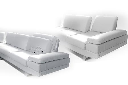 sofa biała skóra regulowane i rozkładane oparcie