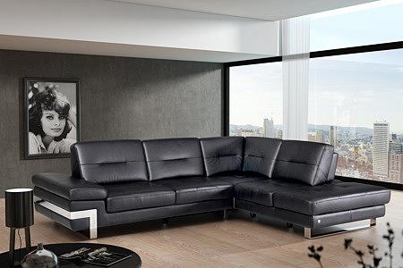 sofa z regulacją oparcia ciemna skóra