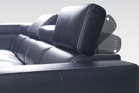 sofa z regulowanym zagłówkiem