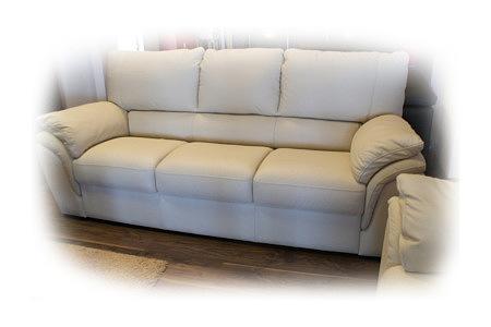 Soft sofa skórzana trzyosobowa kremowa