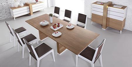 stół nowoczesny future line kolor dąb białe krzesła