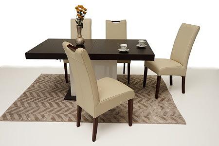 Tau aranżacja inspiracja stół nowoczesny krzesła skórzane