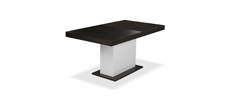 Tau nowoczesny stół z czarnym blatem na jednej nodze białej
