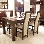 Tosca dębowy stół do salonu okleina krzesła białe