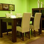 Tosca stół do salonu białe krzesła skórzane