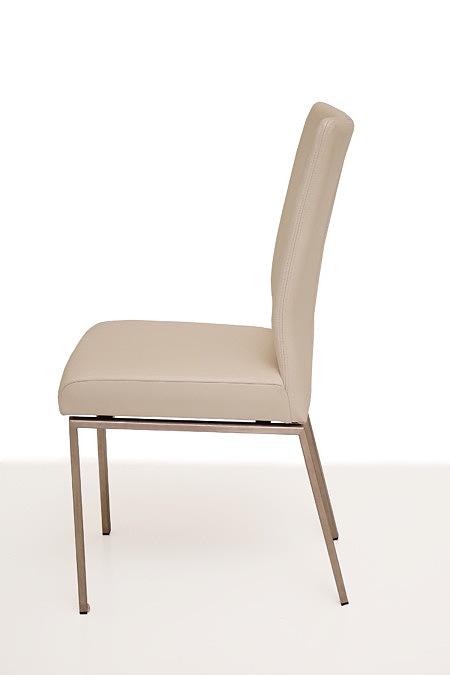 Trinity nowoczesne krzesło metalowe tapicerowane skóra biała